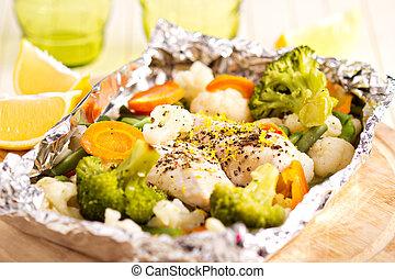 kokt, grönsaken, citron, florett, höna