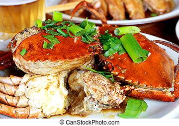 kokt, kinesisk, krabba