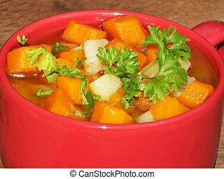kokt, moroten, och, potatisarna, morot, soppa, in, a, röd kopp