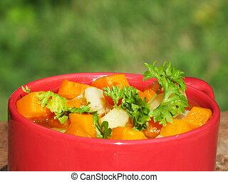 kokt, potatisarna, kopp, moroten, morot, soppa, röd