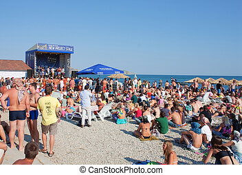 KOKTEBEL, UKRAINE - SEPTEMBER 17: New project stage on September 17, 2011 in Jazz Koktebel Festival, Crimea, Ukraine