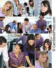 koláž, employees, zaneprázdněný úřadovna