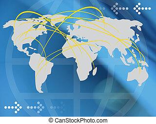 koláž, mapa světa