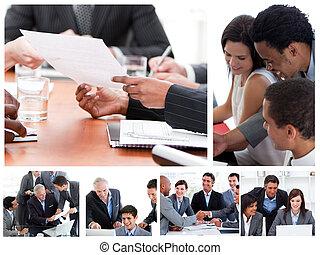 koláž, o, business setkání