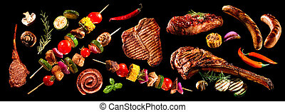 koláž, o, rozmanitý, mříoví masité jídlo, a, zelenina