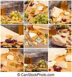 koláž, o, zdravý food, od, zrnko vína, med, a, parmesan