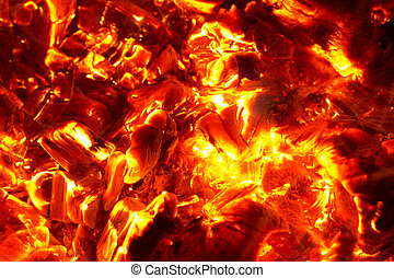 kol, bakgrund, brännande