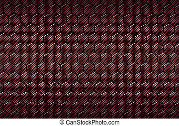 kol, fiber, pattern., röd, sexhörning