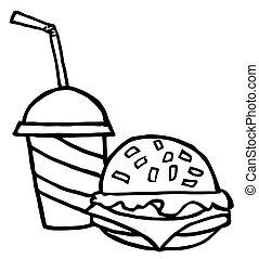 kola, esquissé, cheeseburger