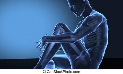 kolano, ból, ludzki