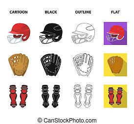kolano, rysunek, accessories., drogi, inny, styl, symbol, bitmapa, komplet, płaski, ochronny, pień, web., baseball, szkic, hełm, ikony, czarnoskóry, ilustracja, zbiór