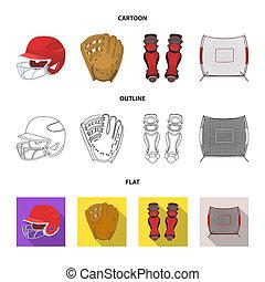 kolano, rysunek, accessories., drogi, inny, styl, symbol, bitmapa, komplet, płaski, ochronny, pień, web., baseball, szkic, hełm, ikony, ilustracja, zbiór