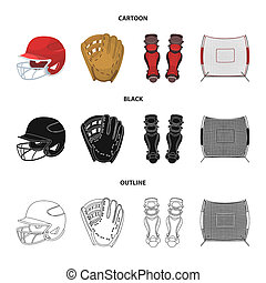 kolano, rysunek, accessories., drogi, szkic, inny, styl, symbol, bitmapa, komplet, ochronny, pień, web., baseballowy hełm, ikony, czarnoskóry, ilustracja, zbiór