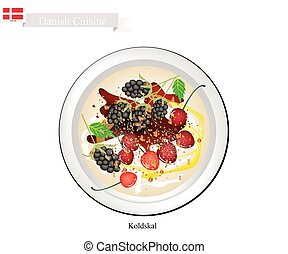 Danish Cuisine, Koldskal or Traditional Cold Buttermilk Soup or Fridge Buttermilk with Blackberry and Cherry. One of The Most Famous Dessert in Denmark.