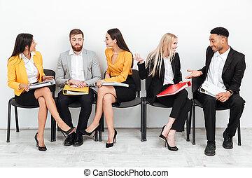 koledzy, biuro, posiedzenie, inny., mówiąc, każdy