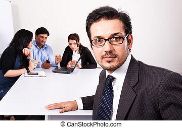 koledzy, jego, do góry, zaufany, tło, zamknięcie, biznesmen