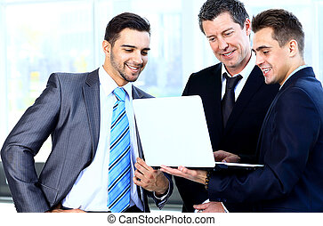 koledzy, jego, handlowe spotkanie, praca, -, dyrektor, dyskutując