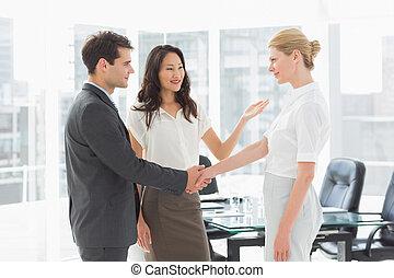 koledzy, wprowadzając, kobieta interesu