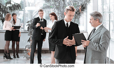 kolega, dokumentovat, business potkat, discussing, před