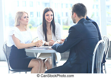 kolega, jeho, business potkat, běžet, -, správce, discussing