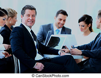 kolega, povolání, grafické pozadí., uzrát, během, portrét, usmívaní, setkání, voják