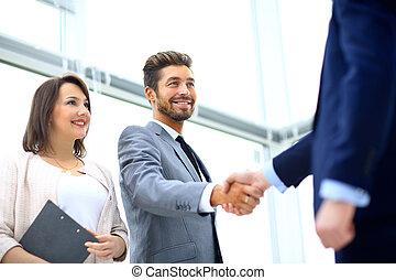 kolega, povolání, sedění, deska, během, setkání