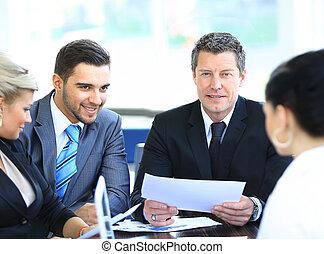 kolega, povolání, sedění, uzrát, usmívaní, setkání, voják
