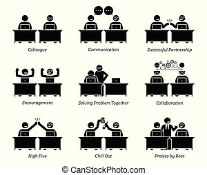 kolega, spolutanečnice, povolání, pracovní, úřadovna., dohromady, pracoviště, výkonně