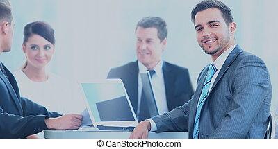 kolega, uzrát, povolání, grafické pozadí, během, portrét, usmívaní, setkání, voják