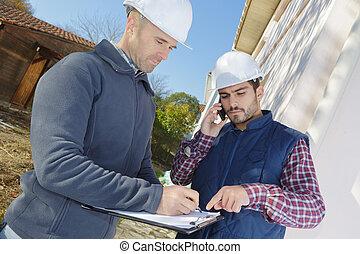 kolega, zbudowanie, rozmowa telefoniczna, umiejscawiać, kontrahent