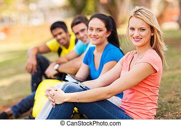 kolegium, outdoors, grupa, przyjaciele, posiedzenie