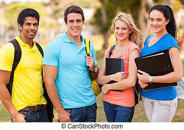 kolegium, przyjaciele, grupa, campus