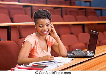 kolegium, samiczy student, afrykanin