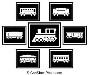 kolej żelazna, komplet, przewóz, ikony