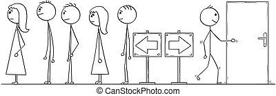 kolejka, droga, albo, patrząc, usługiwanie, inny, kreska, rysunek