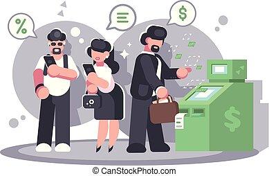 kolejka, wycofujący się, atm, card., pieniądze