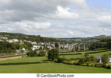 kolejowy most, na, tamar, na, calstock, cornwall