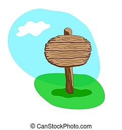kolem, čistý, karikatura, dřevěný, ukazovat
