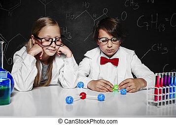 kolem, myslící, škola, dva, chemie, kolega