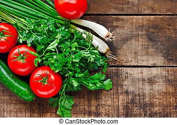 kolendra, stary, pomidory, drewniany, wiosna, ogórek, stół, ...