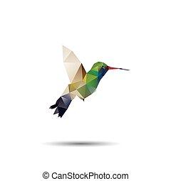 kolibrie, origami, (geometric, style)., colibri,...