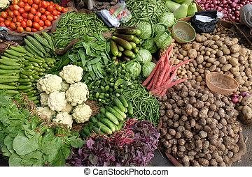 kolkata, 野菜, インド, 市場