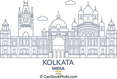 Kolkata City Skyline, India - Kolkata Linear City Skyline,...