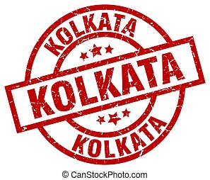 Kolkata red round grunge stamp