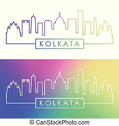 Kolkata skyline. Colorful linear style.