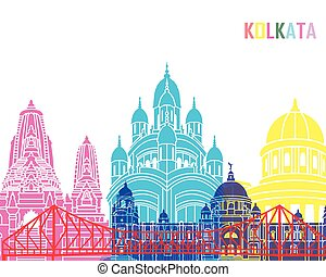 Kolkata skyline pop in editable vector file