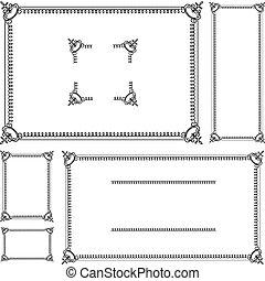 kolken, frame, vector, set