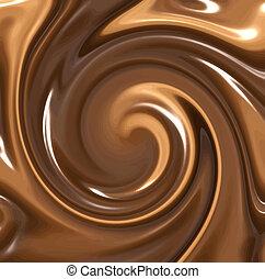 kolken, gesmolten, chocolade