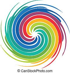 kolken, logo, abstract, beeld, kleurrijke