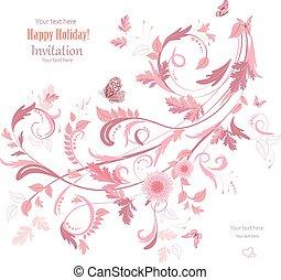 kolken, ontwerp, ornament, jouw, floral